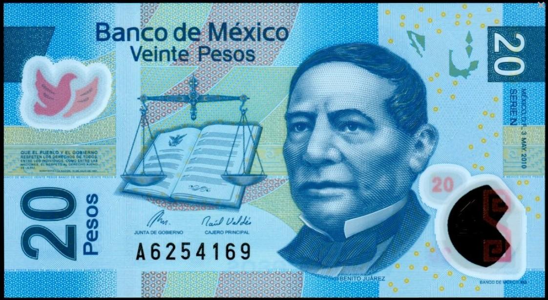 billete de 20 pesos benito juarez