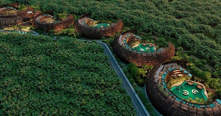 hotel en forma de nido en tulum, cocoon hotel & resort