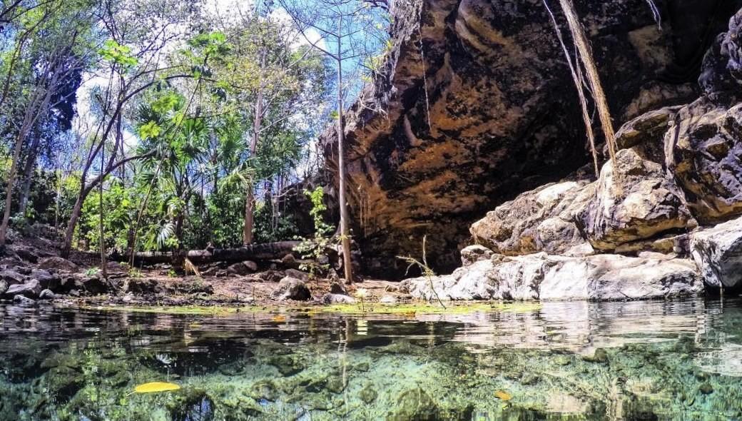 Cenote Dzombakal, el espectacular ojo de agua de tipo semi abierto con caída libre